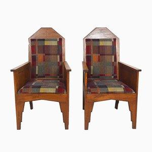 Amsterdamer Schule Armlehnstühle, Indonesien, 1920er, 2er Set