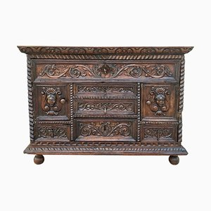 Antique Spanish Bargueno Carved Renaissance Style Cabinet