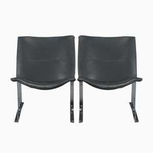 Vintage Black Leather & Chrome Chairs, 1970s, Set of 4