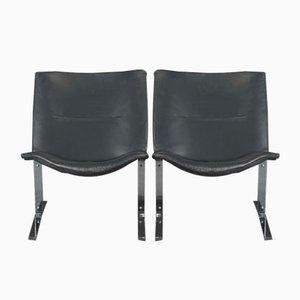 Vintage Stühle aus Schwarzem Leder & Chrom, 1970er, 4er Set