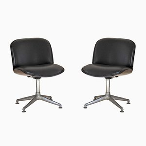 Leather & Rosewood Desk Chairs by Ico Luisa Parisi for MIM, 1970s, Set of 2