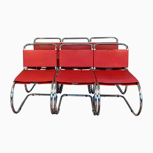 Red Leather MR10 Cantilever Chairs by Ludwig Mies van der Rohe for Knoll Inc. / Knoll International, 1990s, Set of 6
