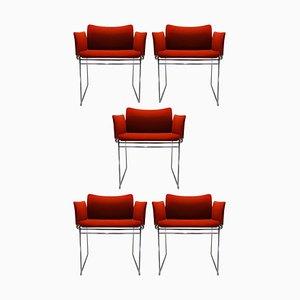 Vintage Burnt Orange Fabric & Chrome Maja Dining Chairs by Kazuhide Takahama for Simon at Gavina, Set of 5