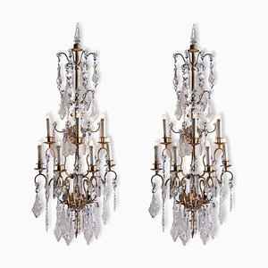 Large 7-Light Wall Sconces in Gilded Iron and Crystal, 1940s, Set of 2