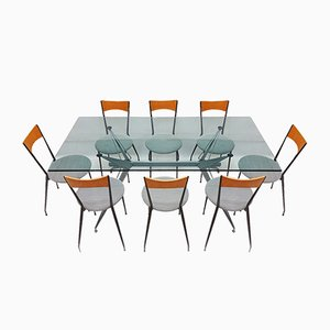 Vintage Glass, Metal & Fabric Conran Dining Table & Chairs Set from Fasem, 1980s, Set of 9
