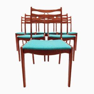 Vintage Danish Teak Ladder Back Dining Chairs from SOS Stolefabrik, 1960s, Set of 6