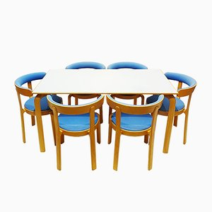 Danish Beech Dining Table & Chairs Set by Rud Thygesen for Magnus Olesen, 1980s, Set of 7