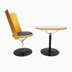 Swedish Side Chair & Table by Börge Lindau & Bo Lindekrantz for Blå Station, 1980s, Set of 2