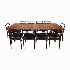 Tavolo da pranzo modello 201 allungabile moderno in palissandro di Arne Vodder per Sibast, 1959, set di 13