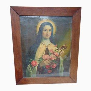 Peinture Art Deco Saint Teresa Vintage