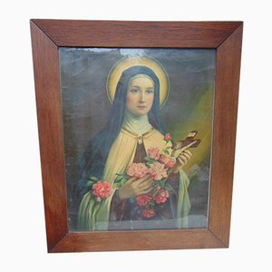 Vintage Art Deco Saint Teresa Painting