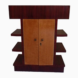 Rosewood & Birdseye Maple Bar Cabinet with Top Display Case, 1930s