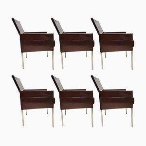 Vintage Brown Leather & Steel Texas Dining Chairs by Karl Friedrich Förster for KFF, 1990s, Set of 6