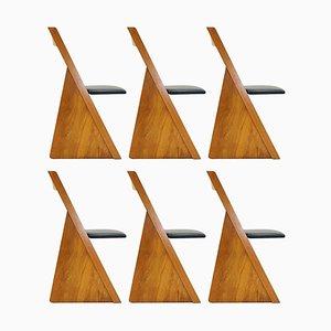 Chaises de Salon Church Pew Style en Chêne par Erik Deforce, 1990s, Set de 6
