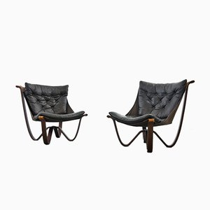 Mid-Century Black Leather Lounge Chairs by Georg Thams for Vejen Polstermøbelfabrik, Set of 2