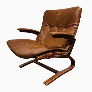 Rosewood Leather Lounge Chair by Ingmar Relling for Westnofa, 1970s