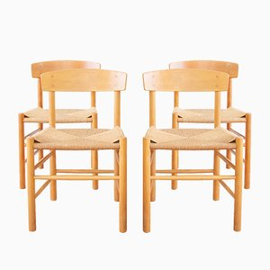 Mid-Century Model J39 Dining Chairs by Børge Mogensen for FDB, Denmark, Set of 4
