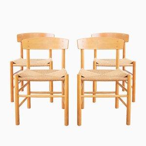 Mid-Century Modell J39 Esszimmerstühle von Børge Mogensen für FDB, Dänemark, 4er Set