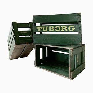 Mid-Century Beer Crates from Tuborg, Set of 3