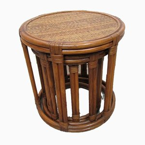 Round Rattan & Bamboo Nesting Tables, 1970s, Set of 3