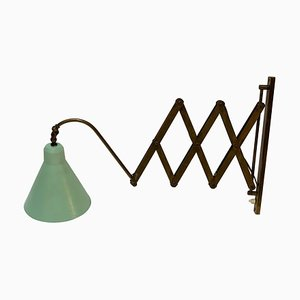 Lampada da parete Mid-Century regolabile ed allungabile in ottone, Italia, anni '50