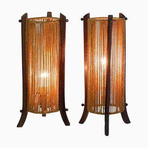 Mid-Century Italian Teak Table Lamps, 1960s, Set of 2