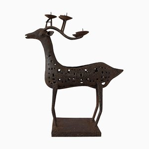 Mid-Century French Iron Deer Candleholder, 1960s