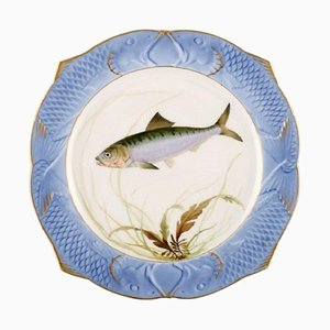 Fish Service Plate in Hand-Painted Porcelain by Arnold Krog for Royal Copenhagen