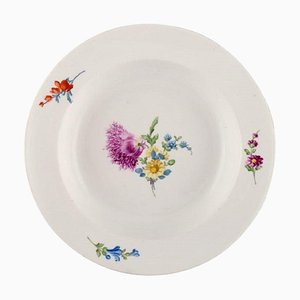 Antique Meissen Deep Plate in Hand-Painted Porcelain with Floral Decoration