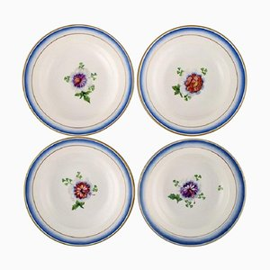 Antique Deep Plates in Hand-Painted Porcelain from Royal Copenhagen, Set of 4