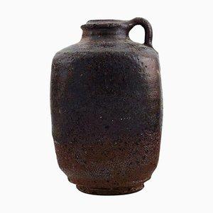 Vase with Handle in Glazed Stoneware by Gutte Eriksen, 1950s