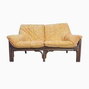 Vintage böhmisches Cognac-Leder & Bambus-Sofa, 1970er Jahre