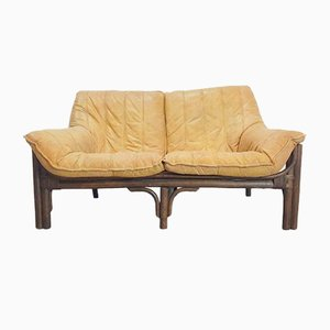 Vintage Bohemian Cognac Leather & Bamboo Sofa, 1970s