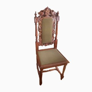 Antique Handmade Wooden Chair with Carvings