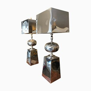 Silvered Shiny Metal Oversized Table Lamps, 1980s, Set of 2