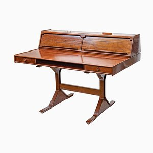 Italian Rosewood Writing Desk by Gianfranco Frattini for Bernini, 1950s