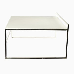 White Leather & Silver Model Quadra Coffee Table form Poltrona Frau, 2000s