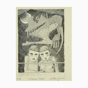 Couple - Original Black and White Etching by Leo Guida - 1988 1988