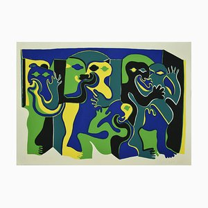 Green Figures - Original Screen Print by Fritz Baumgartner - 1970s 1970s