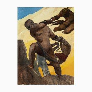 Battle - Original Watercolor by E. Loy - 1924 1924
