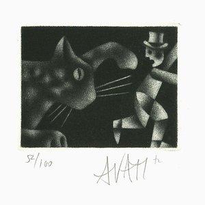 Gravure à l'Eau Forte Homme et Chat par Mario Avati - 1970s 1970s