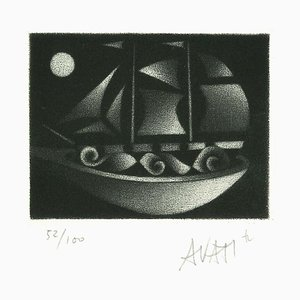 Boat - Original Radierung auf Papier von Mario Avati - 1970s 1970s