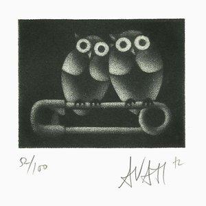 Eulen auf Brosche - Original Radierung auf Papier von Mario Avati - 1970s 1970s
