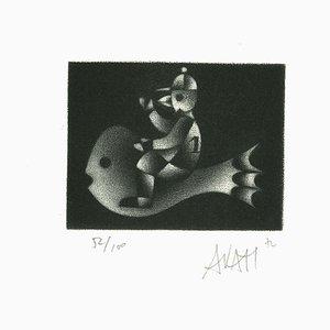 Fish Rider - Original Radierung auf Papier von Mario Avati - 1970er 1970er Jahre