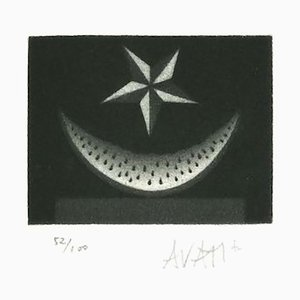 Watermelon and Star - Original Etching on Paper by Mario Avati - 1970s 1970s