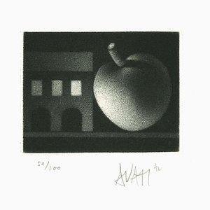 Apple and House - Original Radierung auf Papier von Mario Avati - 1970s 1970s