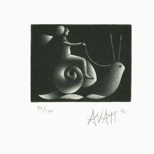 Snail Rider - Grabado Original sobre papel de Mario Avati - años 70