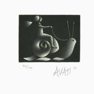 Snail Rider - Original Etching on Paper by Mario Avati - 1970s 1970s