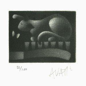 Rabbit - Original Etching on Paper by Mario Avati - 1970s 1970s