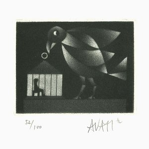 Bird and Cage - Original Etching on Paper by Mario Avati - 1970s 1970s